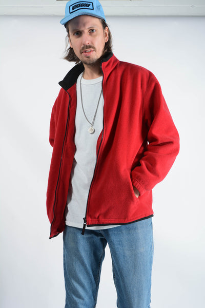 Vintage Fleece Zip Up Jacket in Red - 2XL