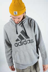Vintage Adidas Hoodie in Grey with Logo - XL