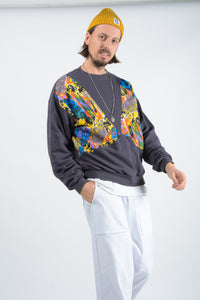 Vintage 80s Sweatshirt with Abstract Pattern - L