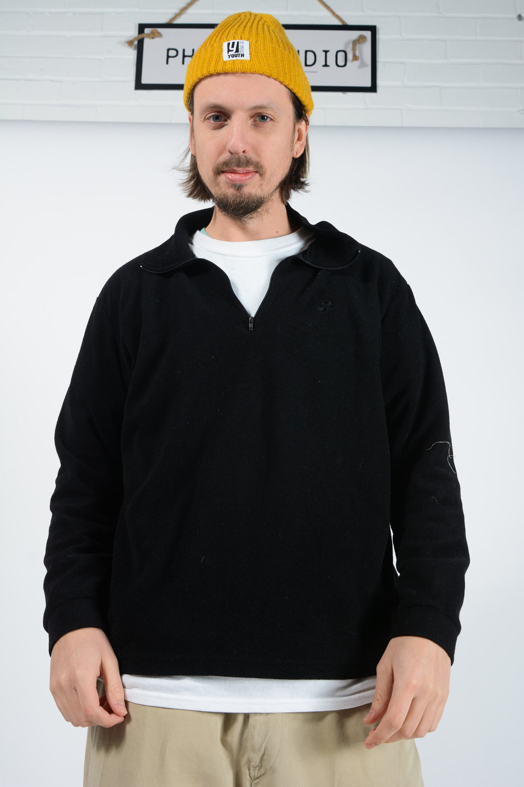 Vintage Lotto Fleece with 1/4 Zip in Black with Embroidered Logo - XXL
