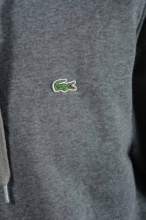 Vintage Lacoste Hoodie in Grey with Logo -XL