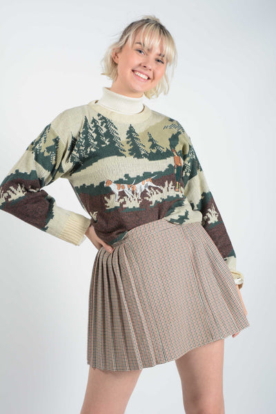 Vintage Preppy Knit Jumper with Countryside design - M