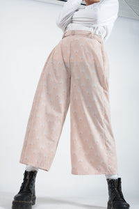 Vintage Bespoke Rework Wide Leg Trousers in Pink - UK 12