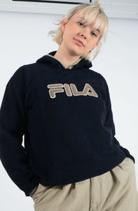 Vintage FILA Fleece in Blue with Flocked Logo - L