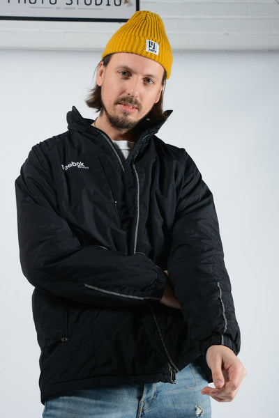 Vintage Reebok Padded Hockey Jacket in Black - L