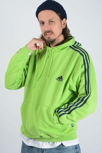 Vintage Adidas Hoodie in Lime Green with Logo - L