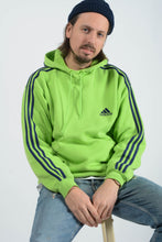 Load image into Gallery viewer, Vintage Adidas Hoodie in Lime Green with Logo - L