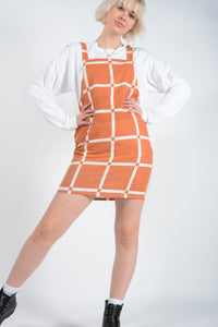 Vintage Bespoke Pinafore Rework Dress in Orange - UK 10