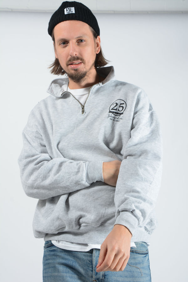 Vintage USA 1/4 Zip Sweatshirt Grey - L