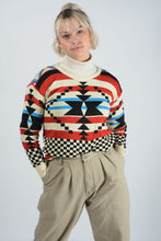 Load image into Gallery viewer, Vintage Preppy Knit Jumper with Aztec Design - M