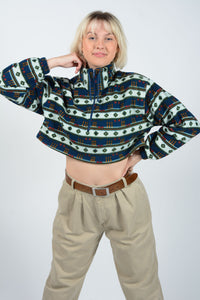 Vintage Fleece Cropped Reworked Jumper 1/4 Zip - M