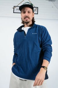 Vintage Columbia 1/4 ZIp Fleece in Blue - L