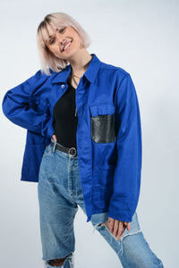 Reworked workwear jacket with patches - XL