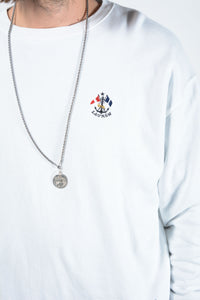 Vintage Ralph Lauren Sweatshirt in White with Embroidery - L