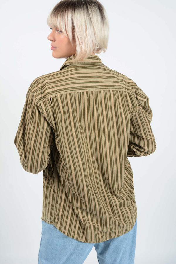 Vintage Striped Cord Shirt in Brown - M