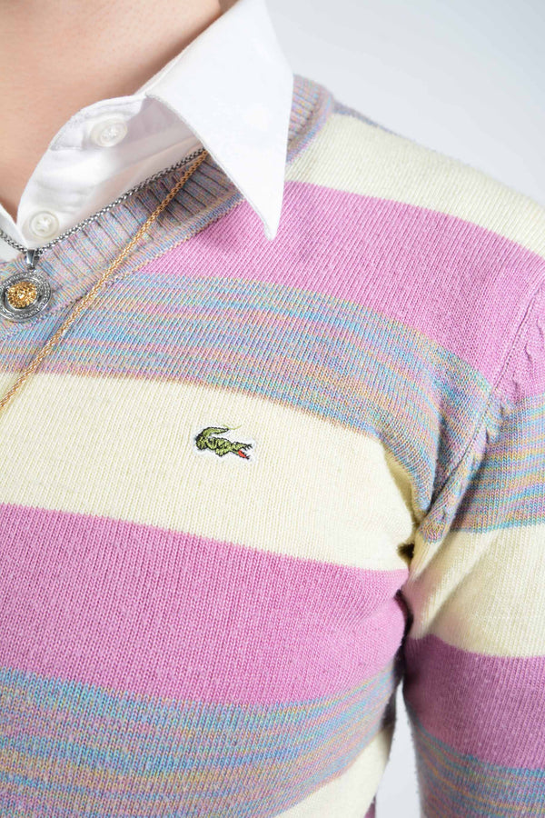 Vintage Lacoste Striped Jumper with Logo - XS
