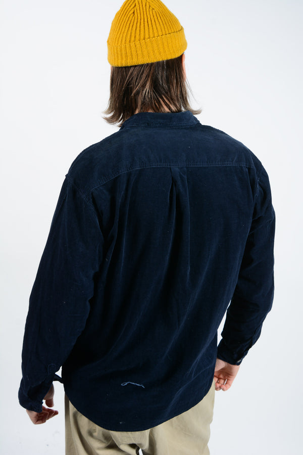 Vintage 90s Corduroy Shirt in Navy - M