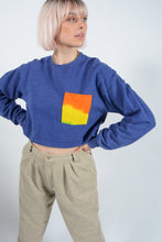 Load image into Gallery viewer, Cropped Vintage Sweatshirt with Patch Pocket - M