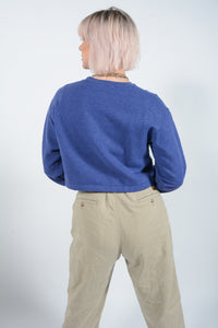 Cropped Vintage Sweatshirt with Patch Pocket - M