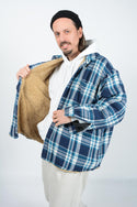 Vintage 90's  Wrangler Shirt Flannel Shearling Workwear Oversized Shacket - XL