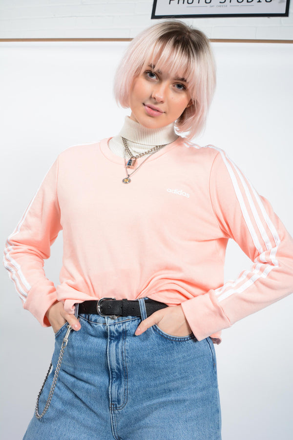 Vintage Adidas Sweatshirt in Pastel Pink with Logo - XL