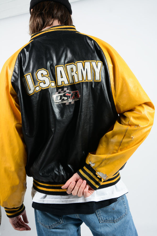 Vintage Baseball Jacket in Black and Yellow  - L