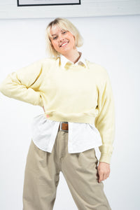 Vintage 80's Cropped Rework Jumper Yellow - M
