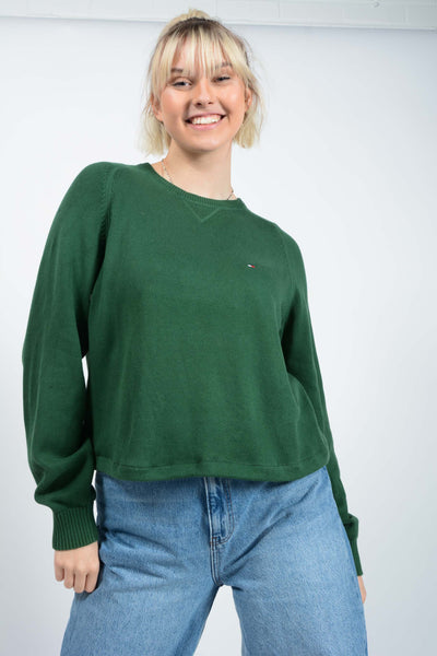 Vintage Tommy Hilfiger Rework Cropped Jumper Green - M