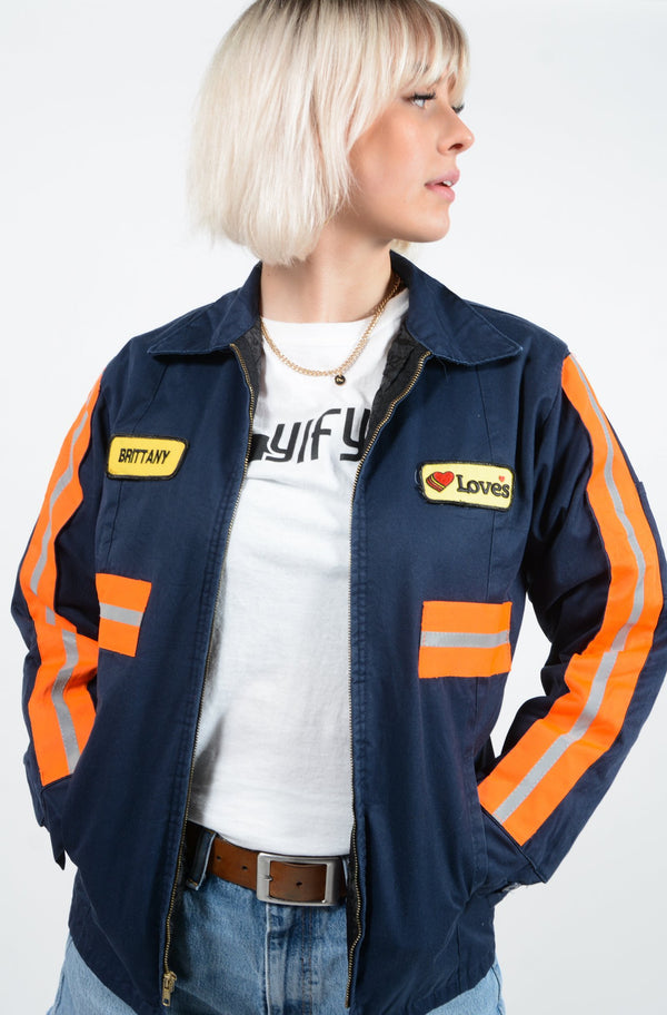 Vintage Workwear Jacket in Blue with Patches - M