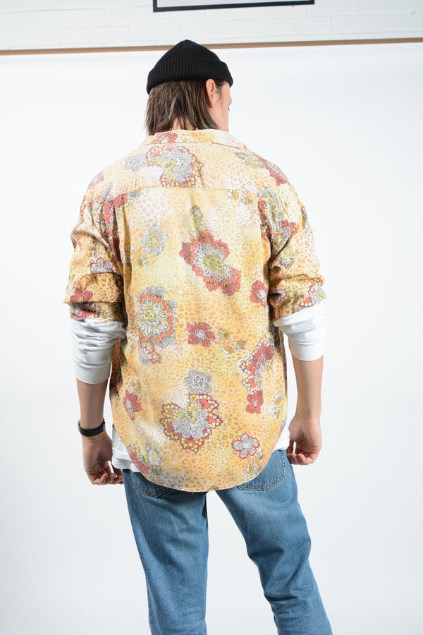 Vintage Shirt Abstract Gold Floral - M
