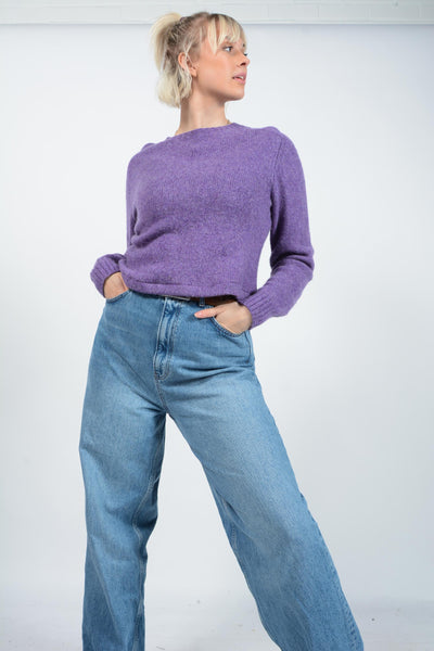 Vintage Polo Ralph Lauren Cropped Rework Jumper Purple - M