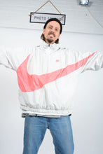 Load image into Gallery viewer, Vintage 80s NIKE Shell Jacket in Cream with Neon Big Swoosh - XL