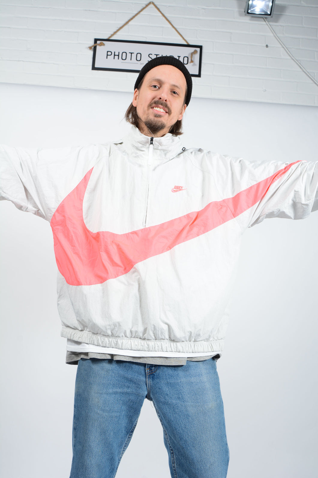 Vintage 80s NIKE Shell Jacket in Cream with Neon Big Swoosh - XL