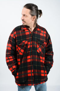 Vintage 80s Shearling Lined Fleece Shacket Red Check - L