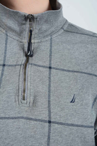 Vintage Nautica 1/4 Zip Sweatshirt in Grey - L