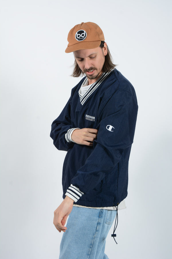 Vintage Champion Blue Pullover Coach Jacket - L