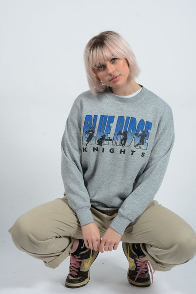 Vintage Sweatshirt Sports Print Grey - L