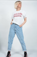 Vintage Champion T-shirt in White with USA College Print - M