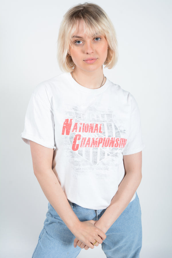 Vintage Champion T-shirt in white with USA Print - M