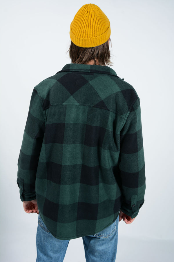 Vintage Heavy Fleece Shirt in Green Check - L