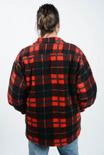 Load image into Gallery viewer, Vintage 80s Shearling Lined Fleece Shacket Red Check - L