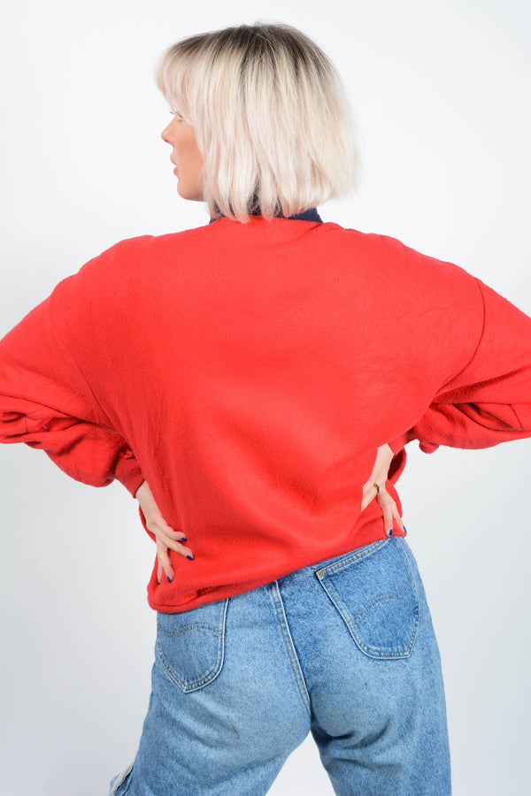 Vintage 90s Fleece Jacket in Red - M