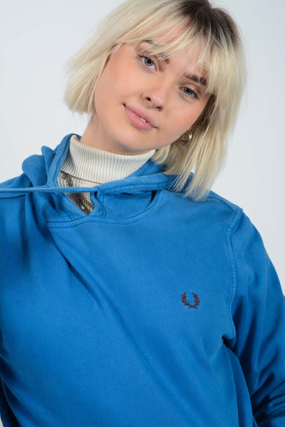 Vintage Fred Perry Hoodie in Blue with Embroidered Logo - L