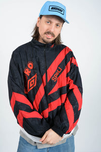 Vintage 80s Umbro Shell Jacket in Black with Embroidery - XL