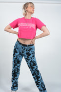 Vintage Rework Cropped T-shirt USA Football Pink - S