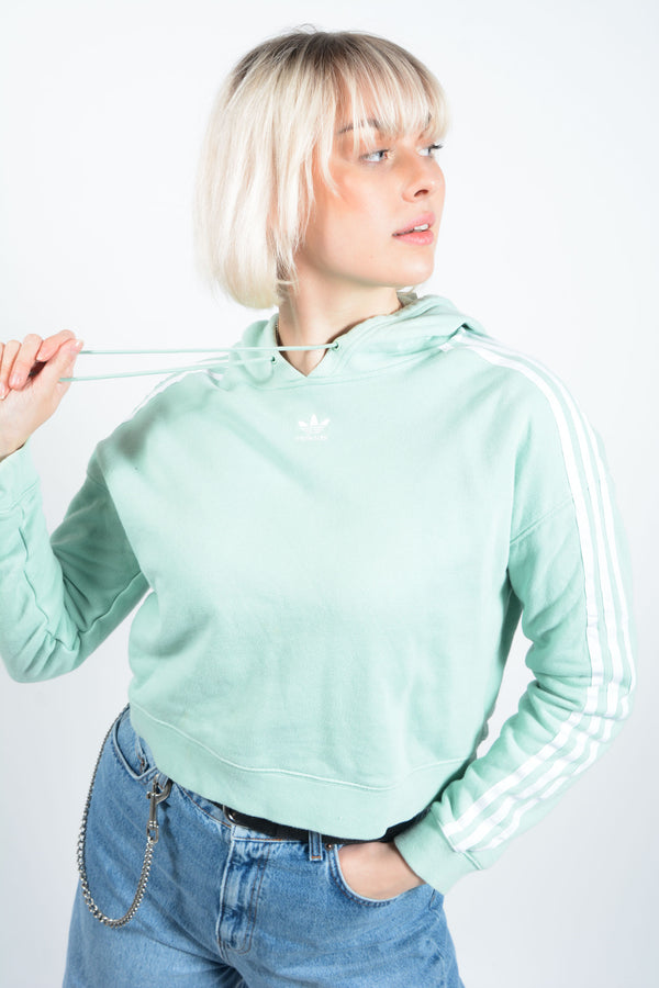Vintage Adidas short fit hoodie in mint green - S