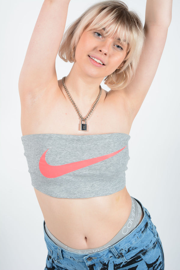 Reworked NIKE Bandeau Top in Grey - M