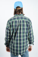 Vintage Nautica Checked Shirt in Blue and Green - L