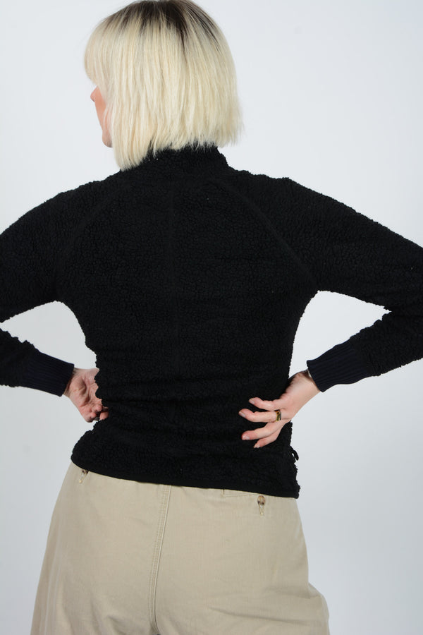 Vintage Fleece Teddy Jacket in Black -S