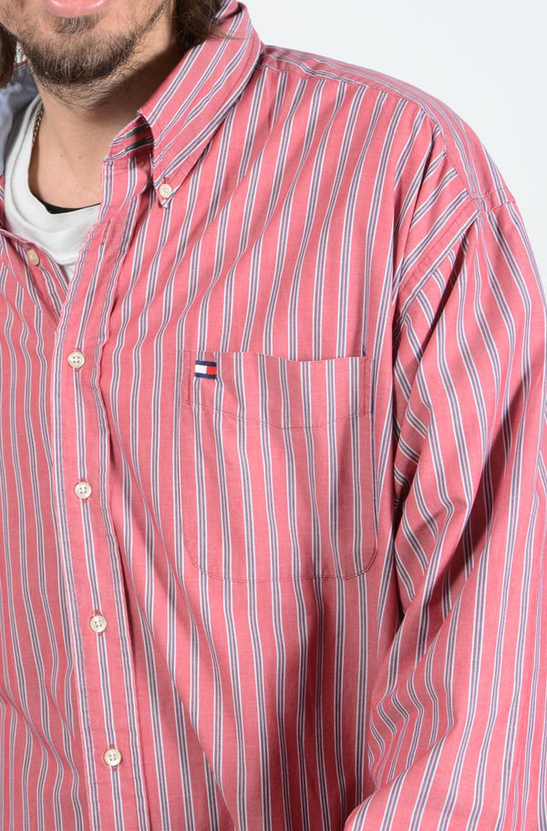 Vintage 90s Tommy Hilfiger Shirt Striped with Logo - XXL